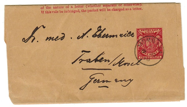 BRITISH EAST AFRICA - 1896 1a carmine postal stationery wrapper to Germany.  H&G 4.