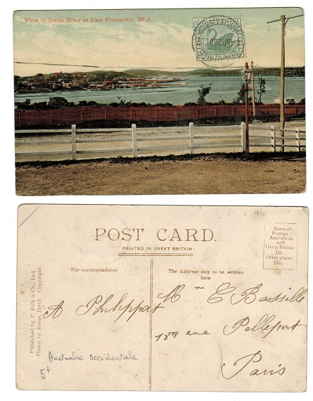 AUSTRALIA (Western Australia) - 1907 1/2d postcard use from FREEMANTLE.