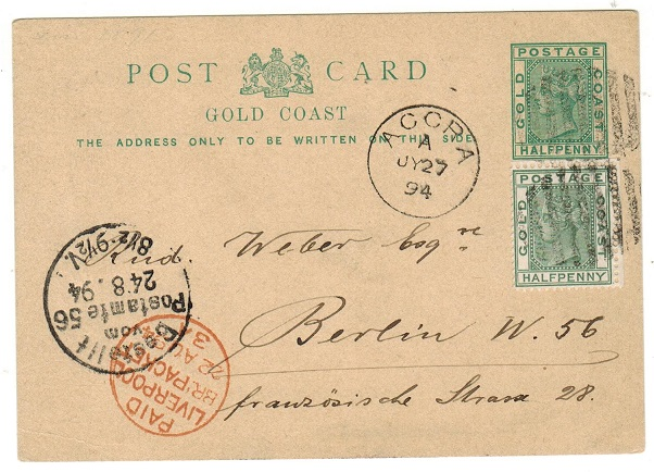 GOLD COAST - 1891 1/2d green PSC (no message) uprated to Germany.  H&G 2.