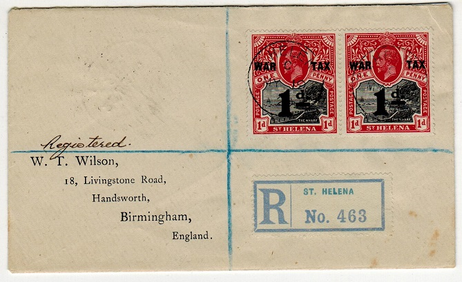 ST.HELENA - 1920 1d WAR TAX adhesive pair on registered cover to UK.