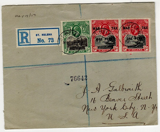 ST.HELENA - 1917 1d WAR TAX pair with 1/2d on registered cover to USA.