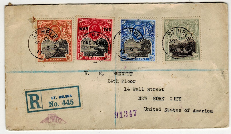 ST.HELENA - 1917 multi franked registered cover to USA with 1d WAR TAX.
