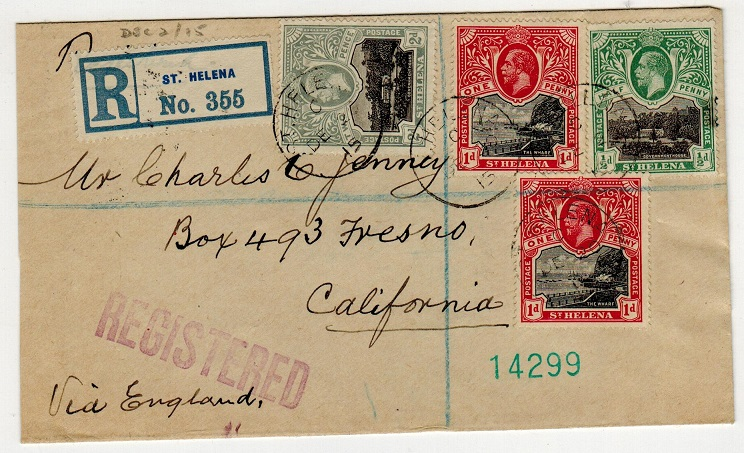 ST.HELENA - 1915 registered cover to USA.