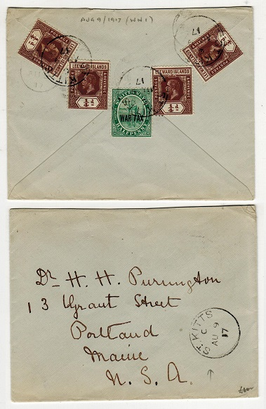 ST.KITTS - 1917 cover to USA with Leeward Island 1/4d (x4) used with 1/2d WAR TAX issue.
