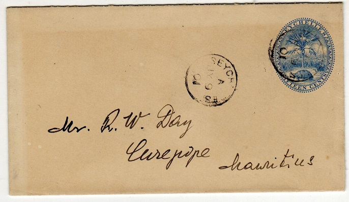SEYCHELLES - 1895 15c PSE addressed to Mauritius. H&G 2a.