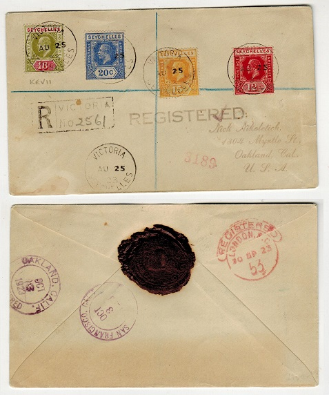 SEYCHELLES - 1923 multi franked registered cover to USA with Edward VII 18c.
