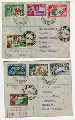 PITCAIRN ISLANDS - 1940 original pictorial set on registered FDC