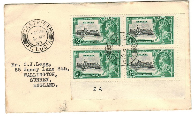 ST.LUCIA - 1937 cover to UK bearing 1/2d