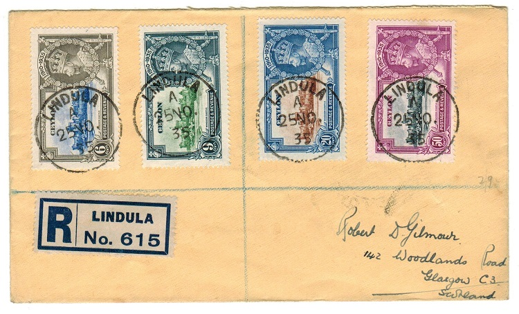 CEYLON - 1935 registered cover to UK with