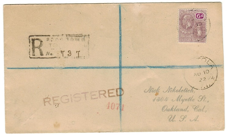 BRITISH VIRGIN ISLANDS - 1922 6d rate registered cover to USA used at TORTOLA.