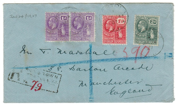 BRITISH VIRGIN ISLANDS - 1927 registered cover to UK used at TORTOLA.