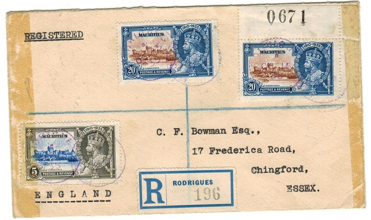 MAURITIUS - 1935 45c registered cover to UK with