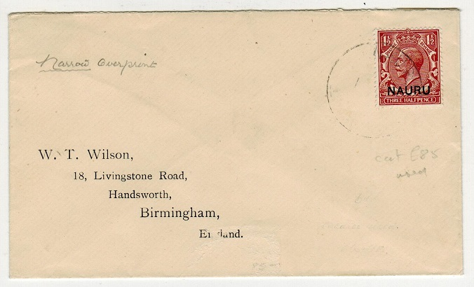 NAURU - 1923 cover to UK with rare 1 1/2d red-brown (SG 3) usage.