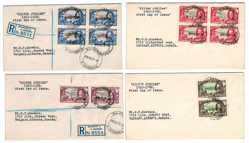 SOUTHERN RHODESIA - 1935 Silver Jubilee set of four individual covers used on first day.
