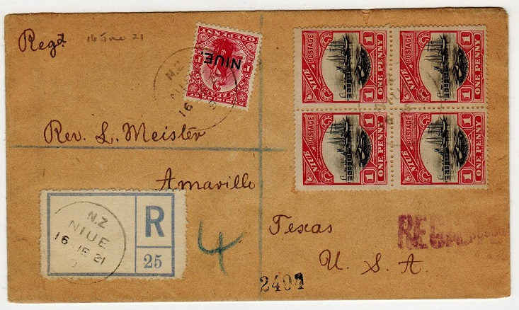 NIUE - 1921 registered cover to USA.