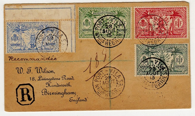NEW HEBRIDES - 1913 multi franked registered cover to UK bearing French issues.