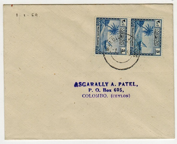 MALDIVE ISLANDS - 1953 cover to Ceylon.