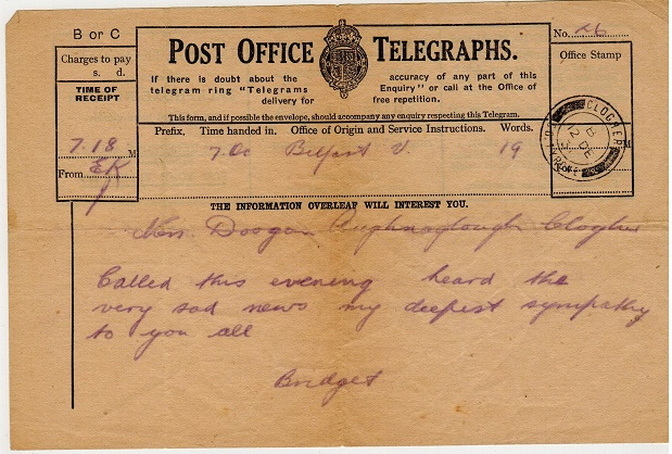IRELAND - 1931 use of TELEGRAM form.