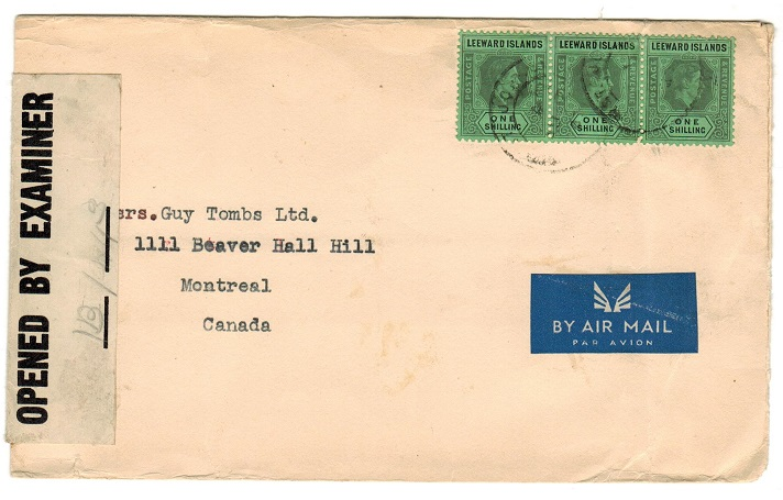 ANTIGUA - 1943 censor cover to Canada.