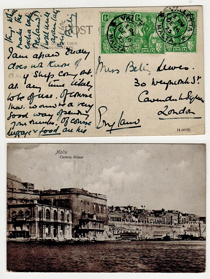 MALTA - 1923 postcard use to UK.