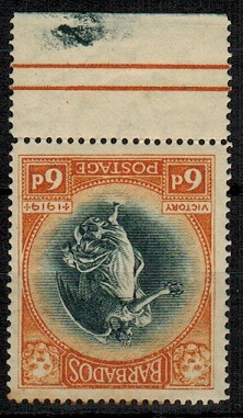 BARBADOS - 1920 6d black and brown orange mint with INVERTED WATERMARK.  SG 208w.