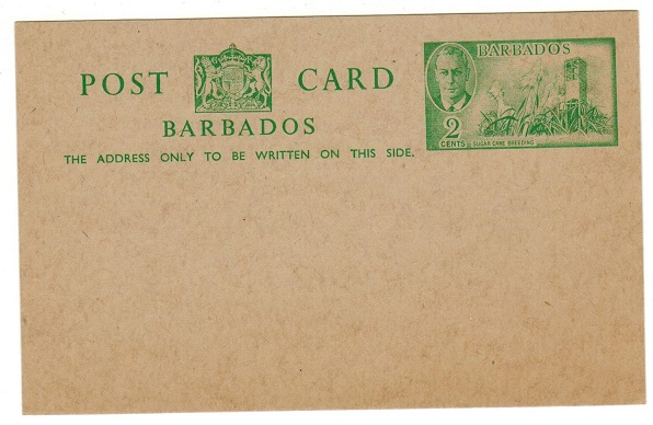 BARBADOS - 1950 2c green PSC unused.  H&G 15.