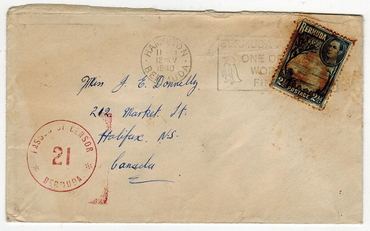 BERMUDA - 1940 censor cover to Canada with scarce