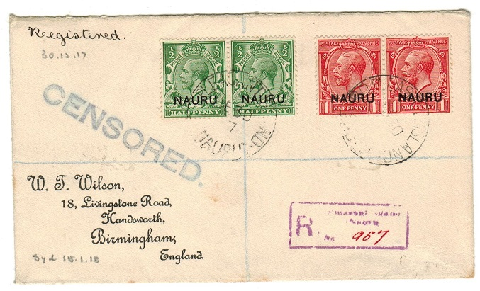 NAURU - 1917 registered censored cover to UK.