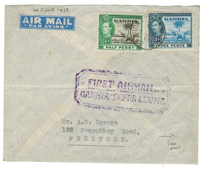 GAMBIA - 1938 first flight cover to Sierra Leone.