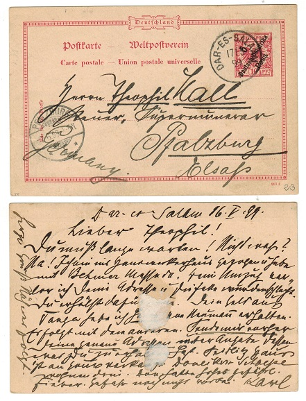 TANGANYIKA (German) - 1896 5 pesa on 10pfg red PSC used at DAR-ES-SALAM.  H&G 6.