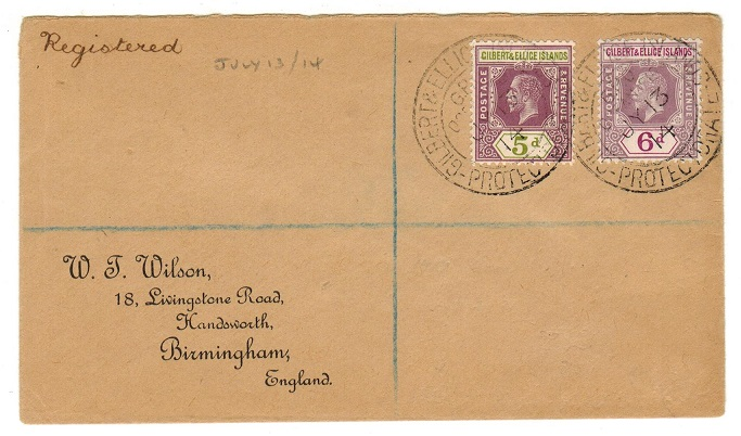GILBERT AND ELLICE IS - 1914 registered cover to UK used at OCEAN ISLAND.