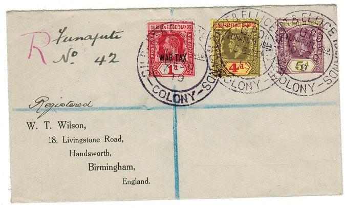 GILBERT AND ELLICE IS - 1919 registered cover to UK with scarce WAR TAX issue use.