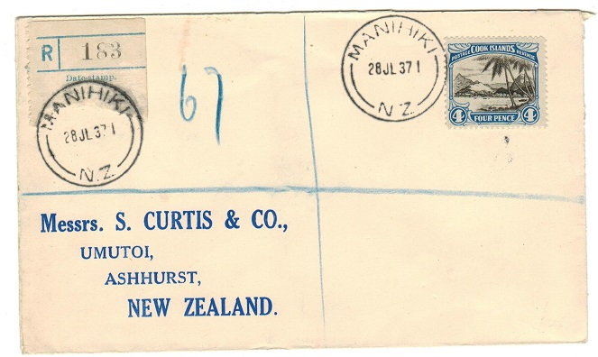 COOK ISLANDS - 1937 4d rate registered cover to NZ used at MANUHUKI.