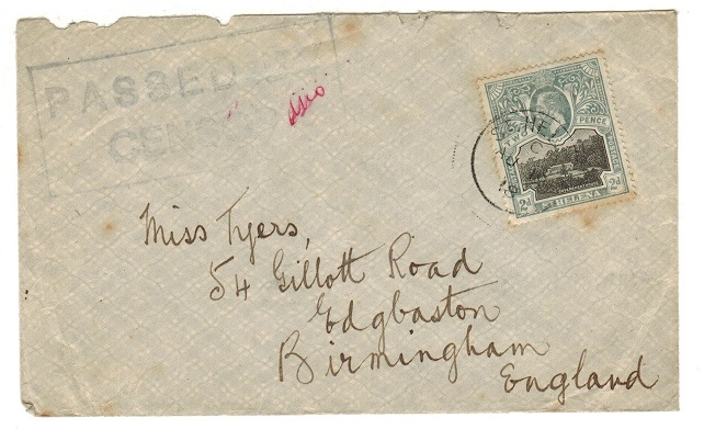 ST.HELENA - 1918 2d rate cover to UK with scarce PASSED BY CENSOR h/s.