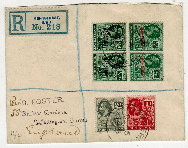 MONTSERRAT - 1918 registered cover to UK with 1/2d