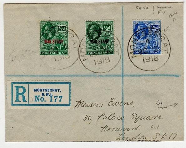 MONTSERRAT - 1918 registered cover to UK with