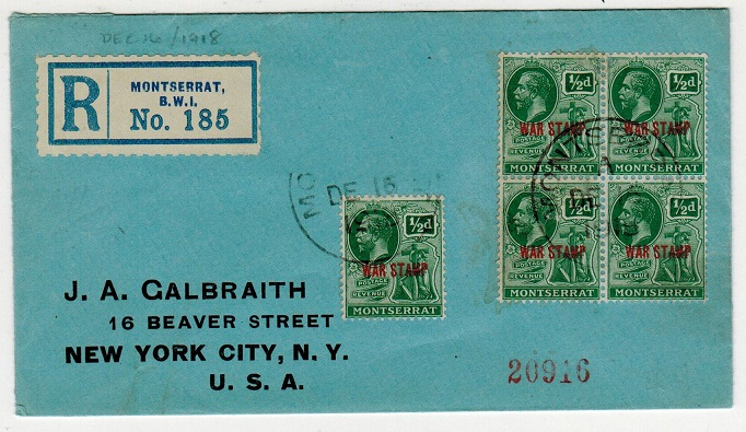 MONTSERRAT - 1918 registered cover to USA with 1/2d