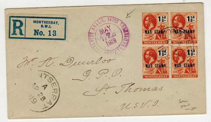 MONTSERRAT - 1919 registered cover to USA with 1 1/2d