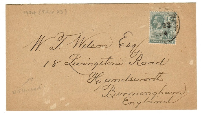 MONTSERRAT - 1924 2d rate cover to UK.