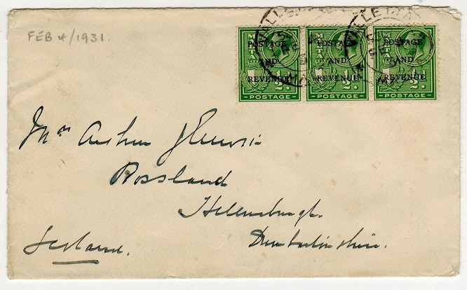 MALTA - 1931 1 1/2d rate cover to UK.