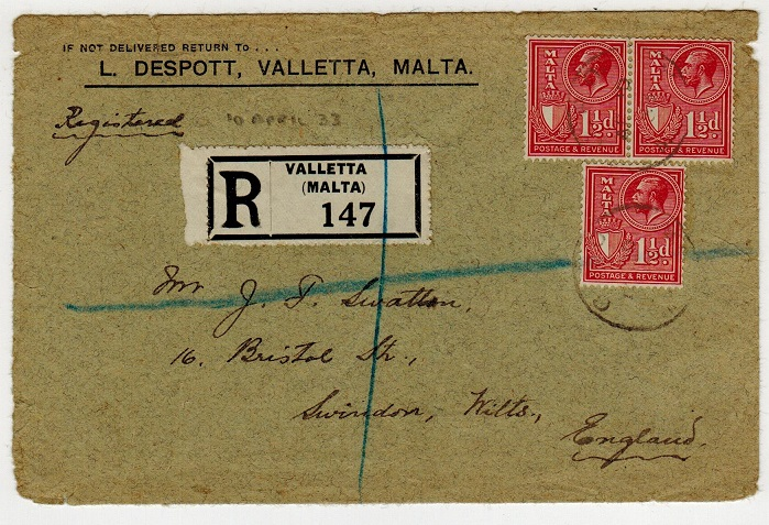 MALTA - 1933 4 1/2d rate registered cover to UK.
