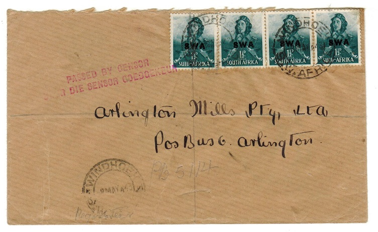 SOUTH WEST AFRICA - 1943 censor cover.