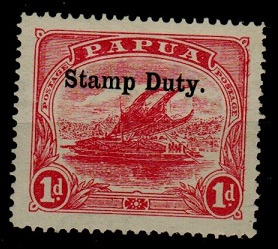 PAPUA - 1911 1d pink fine mint overprinted STAMP DUTY.  SG F1.