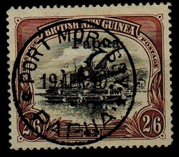 PAPUA - 1908 2/6d black and brown used with PERFORATED