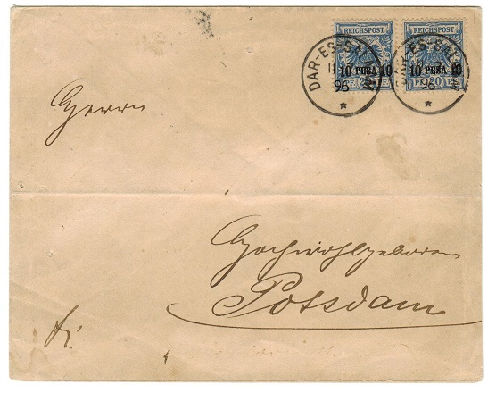 TANGANYIKA (German) - 1896 20 pesa rate cover used at DAR-ES-SALAAM.
