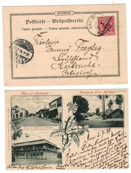 TANGANYIKA (German) - 1898 5 pesa rate postcard use to Germany.