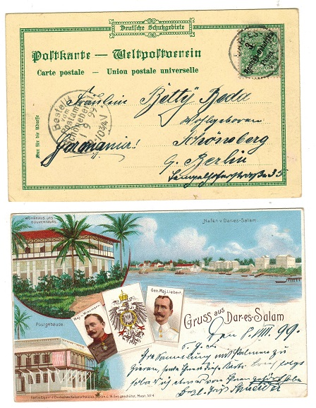 TANGANYIKA (German) - 1899 3 pesa rate postcard use to Germany.