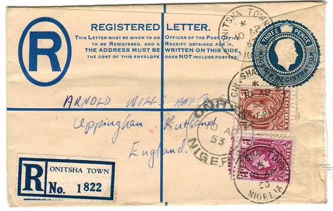 NIGERIA - 1938 3d dark blue uprated RPSE to UK used at ONITSHA TOWN. H&G 6.