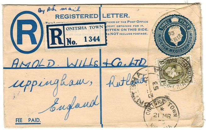 NIGERIA - 1938 4d dark blue uprated RPSE to UK used at ONITSHA TOWN. H&G 6.
