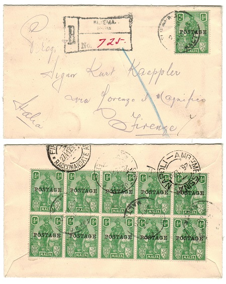 MALTA - 1928 5 1/2d rate registered cover to Italy using 1/2d adhesives at SLIEMA.